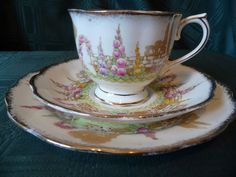 ROYAL ALBERT 'GREENWAYS' VINTAGE CROWN CHINA TEA TRIO - C. 1927