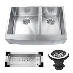 Kitchen Bath Collection presents this executive stainless steel kitchen sink set at an unbelievable price! Includes a free stainless steel sink colander, strainer and grid! This sink is made from top quality 304 stainless steel at 16-gauge thickness for maximum durability. Don't be fooled by fake 16-gauge sinks on the market -- always check the weight of the sink! This sink is an incredible 44 pounds! Other features include a scratch-resistant brushed stainless steel finish, industry-lead...