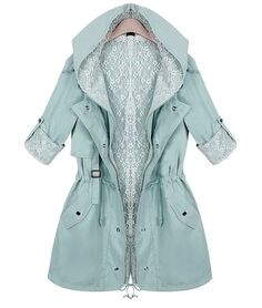 Womens trench spring casual lace hooded coat long sleeve slim jacket sx38 #Unbranded #Trench