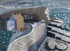John Piper(British, Seaford Head 1933 (along with Spencer and Ravilious, the great practitioners of English Mysticism). Collage Landscape, Abstract Landscape, Landscape Paintings, Landscape Sketch, Abstract Painters, Contemporary Landscape, John Piper Artist, Seaford Head, Mixed Media Collage