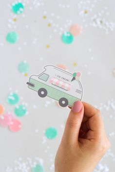 Free Printable Ice Cream Truck Gift Tags // You can never go wrong with printables from Oh Happy Day. And this printable ice cream truck gift tag is one of my all time favourites. It even includes an interactive feature where you can lift the awning to reveal the recipient's name. Loved Links // 6 Colour-Filled & Playful Printables for Summer Parties & Get Togethers @arosecast Illustration   Paper Crafts