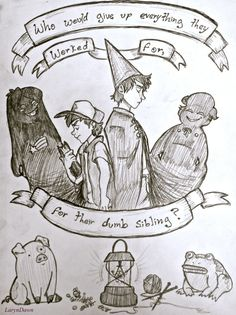 """laryndawn: """" So I had a mighty desire to draw the parallels I saw between Gravity Falls and Over the Garden Wall. Each picture had gotten progressively more intricate, and the reason why I didn't go. Gravity Falls Crossover, Fandom Crossover, Manga Anime, Sad Anime, Garden Falls, Bad Friends, Fanart, Over The Garden Wall, Wall Drawing"""