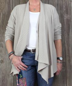 Hot Cotton New Cardigan Sweater XL size Beige Cream Open Front Career Casual $69
