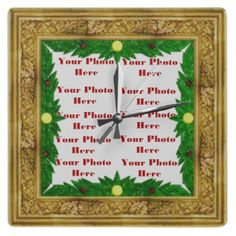Golden Photo Frame Wall Clock by elenaind  Very awesome Christmas Wall Clock to add in any photo you prefer.