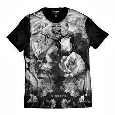 fde1b652b Camiseta Masculina Caveira Floral Di Nuevo Relógio Retrô Skull StreetWear  100% algodão !