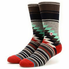 Add some wild looks to your outfits with the Stance Laredo grey striped crew socks. An eye-catching multicolor stripe pattern is made better by a cushioned combed cotton design with elastic arch support and seamless toe closures to improve the comfort of