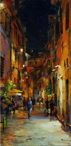 Artist: Dmitri  Danish, Title: Night Lights, Rome - click to close window
