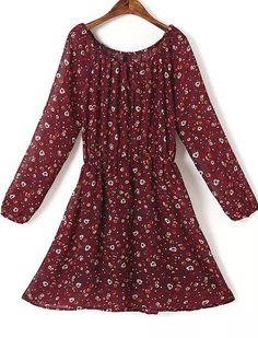 Red Long Sleeve Floral Chiffon Dress 20.83