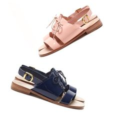 "@thousandpiecepuzzle's photo: ""It's a sandal kind of day #sandal #vanishingelephant #peckham #patent #laces #thousandpiecepuzzle #fashion #footwear #pink #navy #store #boutique"""
