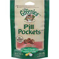 Greenies Pill Pockets Feline Salmon Flavor Cat Treats, 1.6-oz