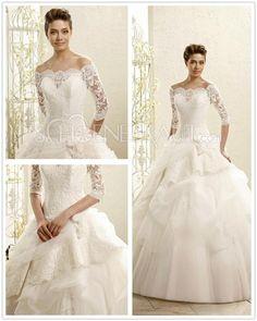 A Linie Brautkleid mit Spitze Brautkleid mit Ärmel Traum Hochzeitskleider mit Raffungen [#UD9154] - schoenebraut.com