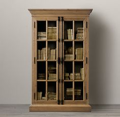 LIBRARY – BOOKCASE – home office, den and study. French casement cabinets.