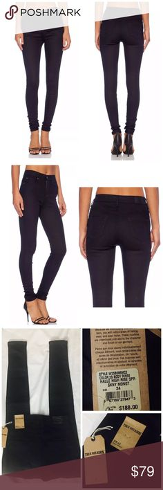 """TRUE RELIGION HALLE HIGH RISE SUPER SKINNY JEANS True Religion JEANS  Style: W2SB086MC2 Halle High Rise Super Skinny Legging Jeans Color: Midnight Body Rinse Size: 24 retail price $188  Material: 74% Cotton, 24% Nylon, 2% elastane Origin: U.S.A Condition: new with tag, authentic  Super skinny and stretchy denim, High rise,5 pockets, zipper fly with button closure front. new horseshoe logo on back pocket. Measurements: waist flat 11.5"""", rise 10"""", inseam 31"""" True Religion Jeans Skinny"""