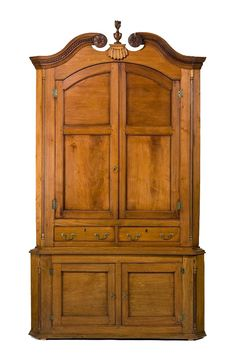 """Tennessee Corner Cupboard. - Corner cupboard by Moses Crawford, 1790-1800, Knox County, Tennessee. Walnut with yellow pine and tulip poplar; HOA: 101-1/4"""", WOA: 56-1/2"""", DOA: 23-1/2"""". Collection of the Museum of Early Southern Decorative Arts (MESDA)"""