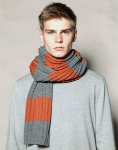 The Best Scarves for Men Fall-Winter ~ Men Chic- Men's Fashion and Lifestyle Online Magazine Mens Knitted Scarf, Men Scarf, Preppy Mens Fashion, Men's Fashion, Scarf Knots, Big Knits, Crochet Headband Pattern, Poncho, Kinds Of Clothes