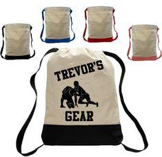 Personalized totebag - Wrestler backpack - Sports Drawstring Closure Bag Backpack personalized with name future wrestler wrestler totebag Custom Made T Shirts, Custom Tees, Backpack Bags, Tote Bags, Drawstring Backpack, Personalized Backpack, Best Commercials, Backpacks, Shirt Designs