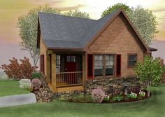 Black Mountain Cottage is a small cabin design with a loft, vaulted family room and stone fireplace. Visit us to browse all of our small cabin floor plans.