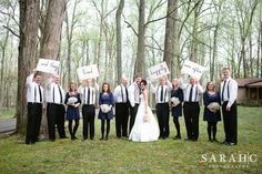 "@Brooke Rane Rane P 's ""and they lived happily ever after"" signs for wedding party photo"