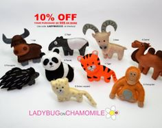AFRICAN SAFARI ANIMALS felt magnets the by LadybugOnChamomile