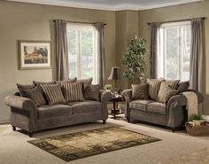 2 Pc Parson Collection Charcoal Fabric Upholstered Sofa And Love Seat Set With Rounded Arms