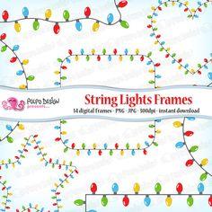 String Lights Frames clipart. Digital clip art. di PolpoDesign