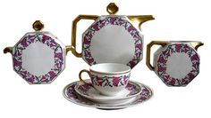 "Art Deco Tea Set, ""Morning Glory"", Limoges, French, 1930's"
