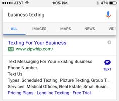 679 best google adwords images on pinterest online marketing is now testing a new ad extension similar to call ad buttons for sending sms or text messages to the advertiser here is a sample screen shot showing the fandeluxe Gallery