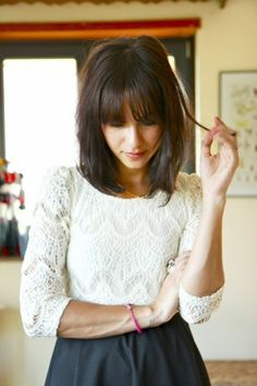 Long brunette bob with blunt fringe