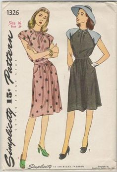 Misses' and women's one-piece dress: The dress is fashioned with raglan sleeves, and a big bound neckline which releases soft gathers in the bodice front. A slim inset belt joins the gathered bodice edge to the skirt which is styled with soft front fullness. There are two curved pockets at skirt front and top stitching is used for trimming bodice. In Style II, the sleeves are made of contrasting fabric and a small bow trims the neck.    Cute & simple!