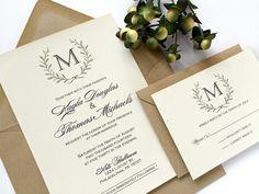 Laurel Wreath Monogram Wedding Invitation by SideStreetDesigns