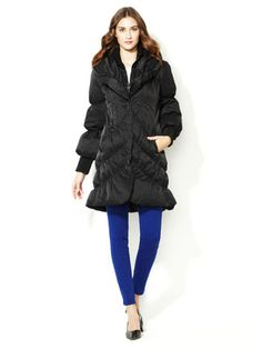 Elie Tahari Outerwear Emily Ruched Quilted Puffer