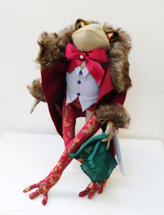 """Mr Frog"", art doll by Sue Parker, in silk waistcoat and fur-trimmed coat."
