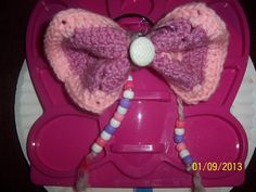 Hand crafted pink and white large crocheted by NAESBARGINBASEMENT, $8.00