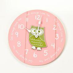Owl Always Love You pink & green wooden owl clock