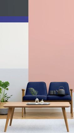 A tasteful synergy of shape, colour and contrast. The Barbican Colour Wall Mural uses asymmetrical blocks of uniform colour in complimentary shades of soft pastels and bold, darker tones. Crisp lines softened by an aesthetically pleasing colour palette. This mural makes a worthy focal point full of stylish appeal. #wallpaper #mural #wallmural #interiorandhome #livingroom Best Interior, Modern Interior Design, Interior And Exterior, Wall Colors, House Colors, Trendy Wallpaper, Wall Wallpaper, Room Wall Decor, Colorful Interiors