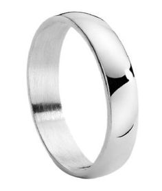 Men's Stainless Steel Wedding Band with Domed Profile and Polished Finish | 4mm