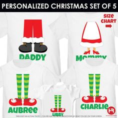 Family Christmas Shirts Set of 5 Daddy Mommy and Little Elf Shirts or Onesie - Elf Shirts - Ideas of Elf Shirts - Family Christmas Shirts Set of 5 Daddy Mommy and Little Elf Shirts or Onesie Christmas Pajama Shirts Best Christmas Presents, Christmas Pajamas, Christmas Traditions, Christmas Holidays, Xmas Shirts, Christmas Shirts, Christmas Projects, Christmas Outfits, Family Christmas Pictures
