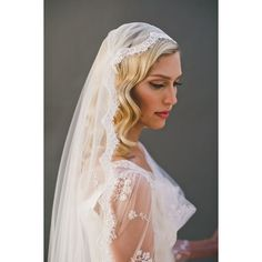 Cap Veil, Eyelash Fringe Lace Juliet Cap Wedding Veil, Single Layer... ❤ liked on Polyvore featuring accessories