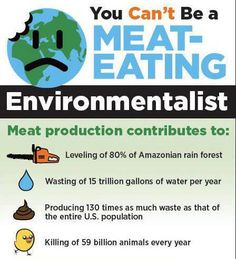 You Can't Be A Meat-Eating Environmentalist. No personal act has a greater negative effect on the environment than eating animals and their secretions. No personal act has a greater positive effect on the environment than being vegan. Love the planet? Love animals? The choice is clear - go vegan!