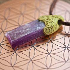 Lepidolite Crystal Pendant by Anu Loves