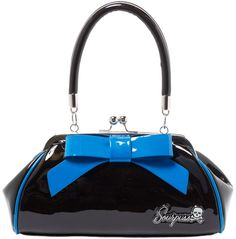 "SOURPUSS FLOOZY PURSE BLACK AND BLUE - Look like a million bucks with our Black and Blue Floozy Purse! This vintage-inspired, vinyl purse features brilliant blue trim and matching 7"" vinyl bow, kiss lock closure, ""Sourpuss"" hardware, sturdy handles, circular metal feet & black satin lining."