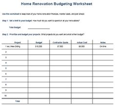 Renovation Budget Spreadsheet Template  Home Renovation Diy