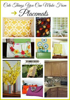 Placemats are a great resource for the budget decorator. You'll be amazed at the cute things you can make with placemats! | upcycle, repurpose, recycle, reuse, DIY