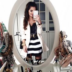 outfit-fashionhippieloves-skirt-look-stripes+black top+trenchcoat. Outfit Spring 2016