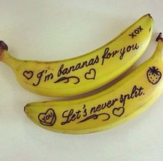 tiny but lovely romantic gestures to get you relationship brownie points Write notes on your boyfriend's banana for a cute and easy romantic gesture!Write notes on your boyfriend's banana for a cute and easy romantic gesture! Be My Valentine, Valentine Day Gifts, Valentine Ideas, Funny Valentine, Valentine Sayings, Valentines Baking, Valentine Baskets, Valentine Recipes, Kids Valentines