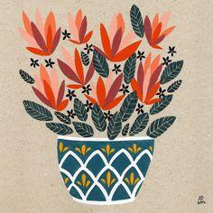 Lino Prints - Art and illustration by Amy Blackwell Art And Illustration, Floral Illustrations, Art Et Nature, Plant Drawing, Guache, Plant Art, Gouache Painting, Painting Art, Art Design