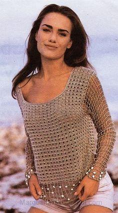 beige Pullover, love this, love the beads Mode Crochet, Easy Crochet, Crochet Lace, Crochet Stitches, Crochet Patterns, Crochet Tops, Crochet Diagram, Irish Crochet, Crochet Bikini