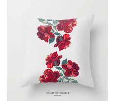 Red Roses Throw Pillow Floral Decorative by HeartofHeartsDesigns