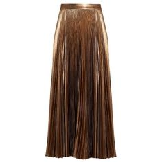 A.l.c. Bobby pleated midi skirt (43,325 INR) ❤ liked on Polyvore featuring skirts, metallic midi skirt, holiday skirts, brown midi skirt, pleated skirt and retro skirts