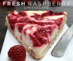 This lightened up Fresh Raspberry Cheesecake is an easy & delicious recipe made with low-fat cream cheese, yogurt, and fresh raspberries.